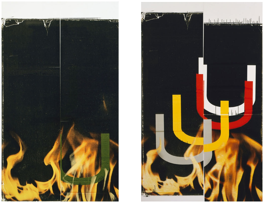 Left: Wade Guyton, Untitled, 2006. Epson UltraChrome inkjet on linen, 90 × 53 in. (228.6 × 134.6 cm). Collection of Mark Grotjahn and Jennifer Guidi. © Wade Guyton. Photograph by Lamay Photo. Image courtesy whitney.org. Right: Wade Guyton, Untitled, 2006. Epson UltraChrome inkjet on linen, 89 × 54 in. (226.1 × 137.2 cm). Private collection. © Wade Guyton. Photograph by Lamay Photo. Image courtesy whitney.org.