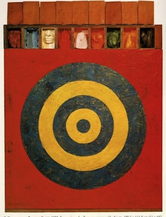 Jasper Johns, Target With Plaster Casts, 1955. Encaustic and collage on canvas with objects. Collection David Geffen, Los Angeles.