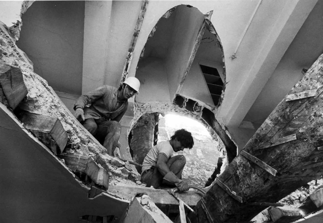Gordon Matta-Clark's Conical Intersect in construction, 1975.