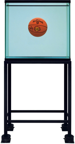 Jeff Koons, One Ball Total Equilibrium Tank (Spalding Dr. J 241 Series), 1985. Glass, steel, sodium chloride reagent, distilled water, and basketball; 64 3/4 × 30 3/4 × 13 1/4 in. (164.5 × 78.1 × 33.7 cm). B.Z. and Michael Schwartz. © Jeff Koons. Image courtesy The Whitney Museum of American Art.