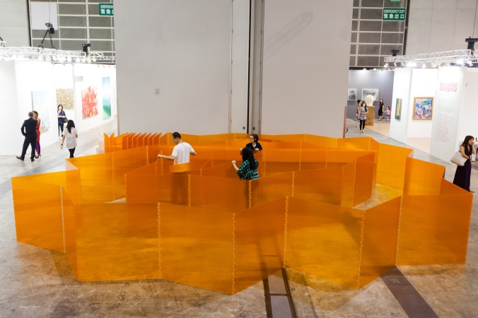 Marta Chilindron, Cube 48 Orange, 2014, acrylic, dimensions variable: closed: 48 x 48 x 48 in., Courtesy Cecilia de Torres, Ltd.