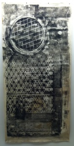 Sari Dienes, Soho Sidewalk, c.1953-1955. Ink on webril, 75 x 33 in. Image courtesy of the Sari Dienes Foundation, Pomona, NY. http://saridienes.org/