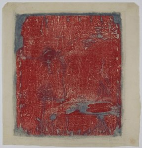 Sari Dienes, Woodblock VI (Artist's proof Yaddo), 1953. Ink on rice paper, 19 x 18 in. Image courtesy of the Sari Dienes Foundation, Pomona, NY. http://saridienes.org/
