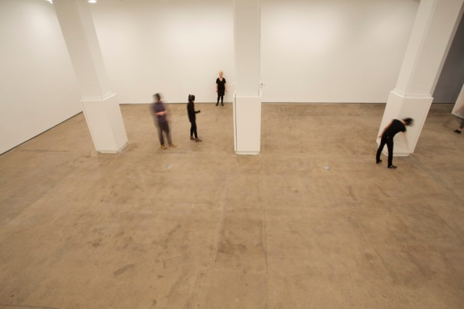 The author cautiously moving through the space. Image courtesy of Generator by Marina Abramović.