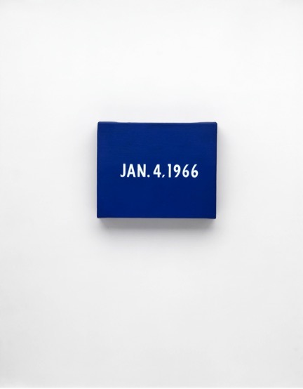 "On Kawara, JAN. 4, 1966 ""New York's traffic strike."" New York, From Today, 1966–2013, Acrylic on canvas, 8 x 10 inches (20.3 x 25.4 cm), Private collection, Photo: Courtesy David Zwirner, New York/London"