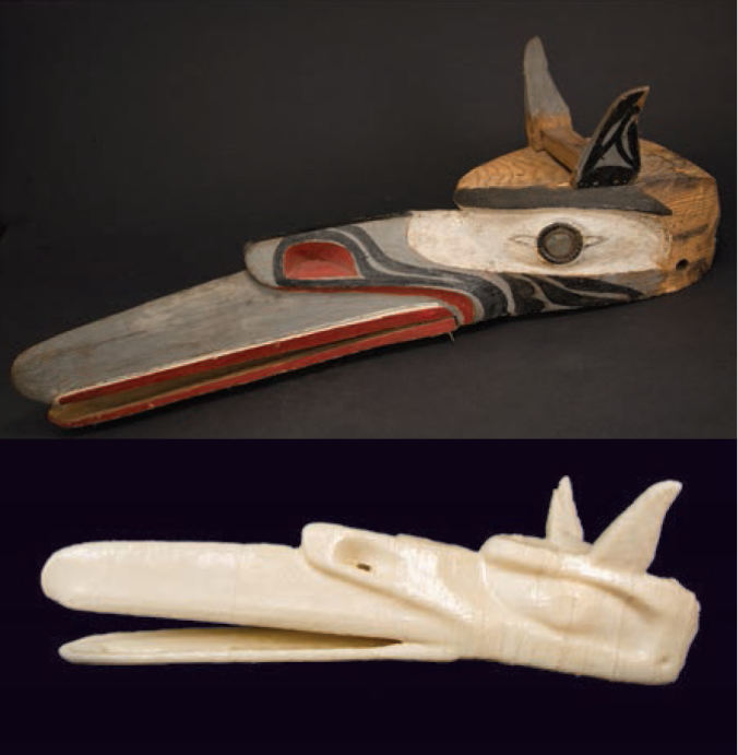 Top: Kwakwaka'wakw (Pacific Northwest Coast), Raven Mask, early twentieth century, pigment on wood. The Ulfert Wilke Collection, purchased with funds from the Friends of the Art Museum. UMFA1981.016.002. Bottom: Duane Linklater, UMFA981.016.002, 2015. 3D-printed sculpture. Courtesy of the artist and Catriona Jeffries Gallery. Image courtesy Utah Museum of Fine Arts.