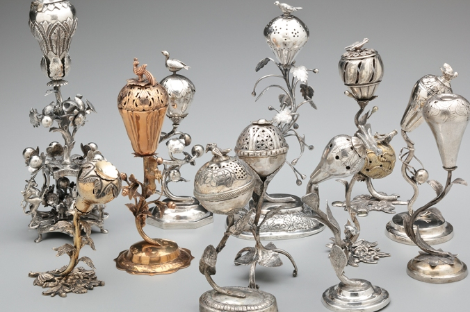Spice Containers, Nagalski and Psyk and anonymous artists. Poland and Russia, c. 1800 – 1939. Silver and gold. The Jewish Museum, New York. Gifts of Dr. Harry G. Friedman and Mr. and Mrs. Albert A. List; the Rose and Benjamin Mintz Collection. Image courtesy the Jewish Museum.
