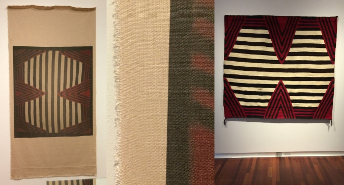 Left: Duane Linklater, UMFA1977.099, 2015. Inkjet print on linen. Courtesy of the artist and Catriona Jeffries Gallery. Center: Linklater, UMFA1977.099, 2015 (detail). Right: Southwest, Navajo (Diné) peoples, Hanoolchaadi or Third Phase Style Chief's Blanket, late nineteenth century, wool, The Judge Willis W. Ritter Collection of Navajo Textiles. UMFA1977.099. All photographs by the author.